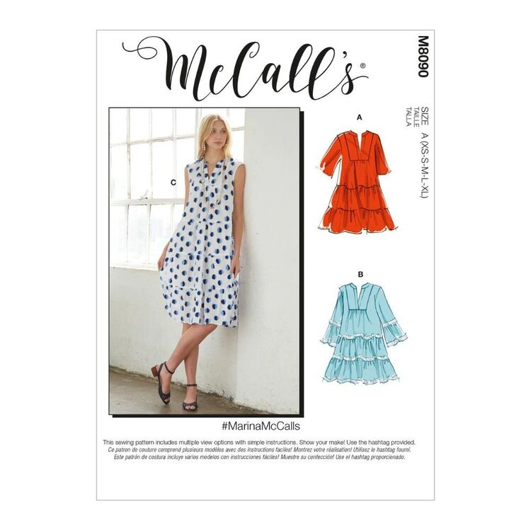 McCall's Pattern M8090 #MarinaMcCalls - Misses' Dresses & Belt