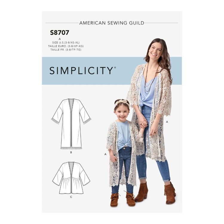 Simplicity Pattern S8707 Child's and Misses' Kimonos