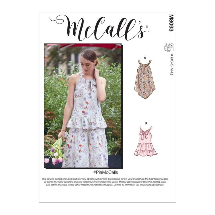 McCall's Pattern M8093 #PiaMcCalls - Misses' Tops