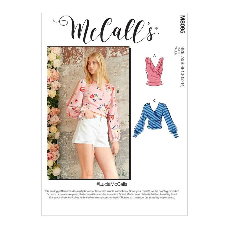 McCall's Pattern M8095 #LuciaMcCalls - Misses' Tops