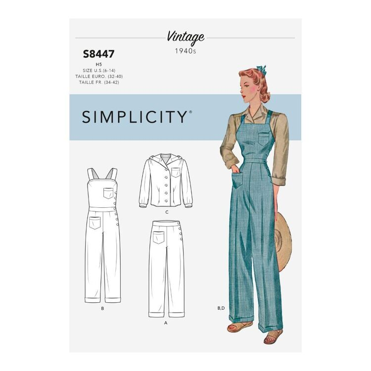 Simplicity Pattern S8447 Misses' Vintage Pants, Overalls and Blouses