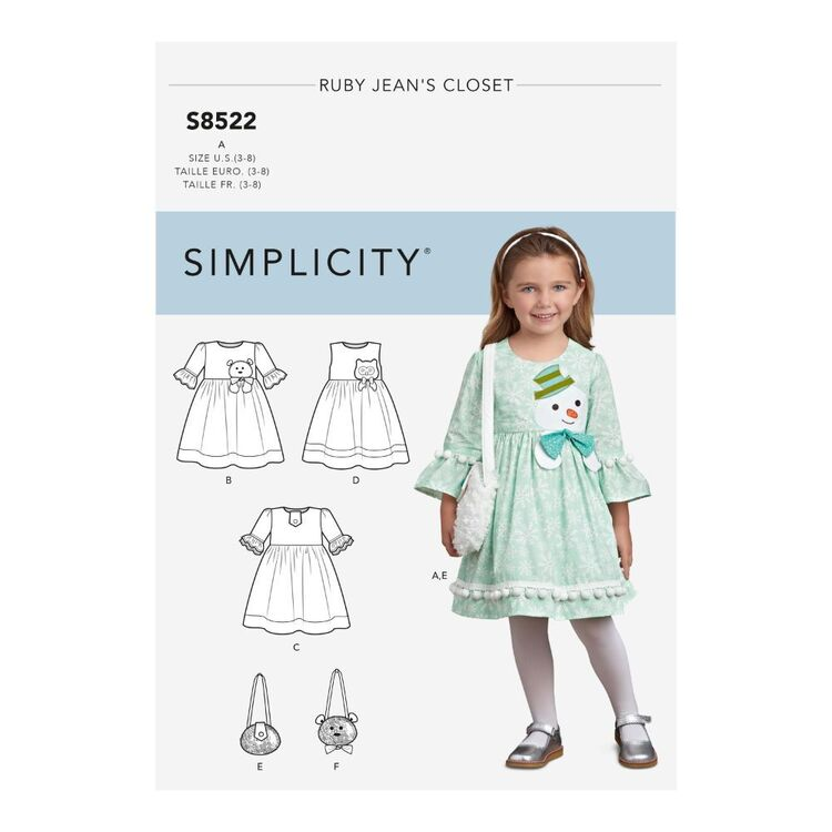 Simplicity Pattern S8522 Child's Dresses and Purses from Ruby Jean's Closet