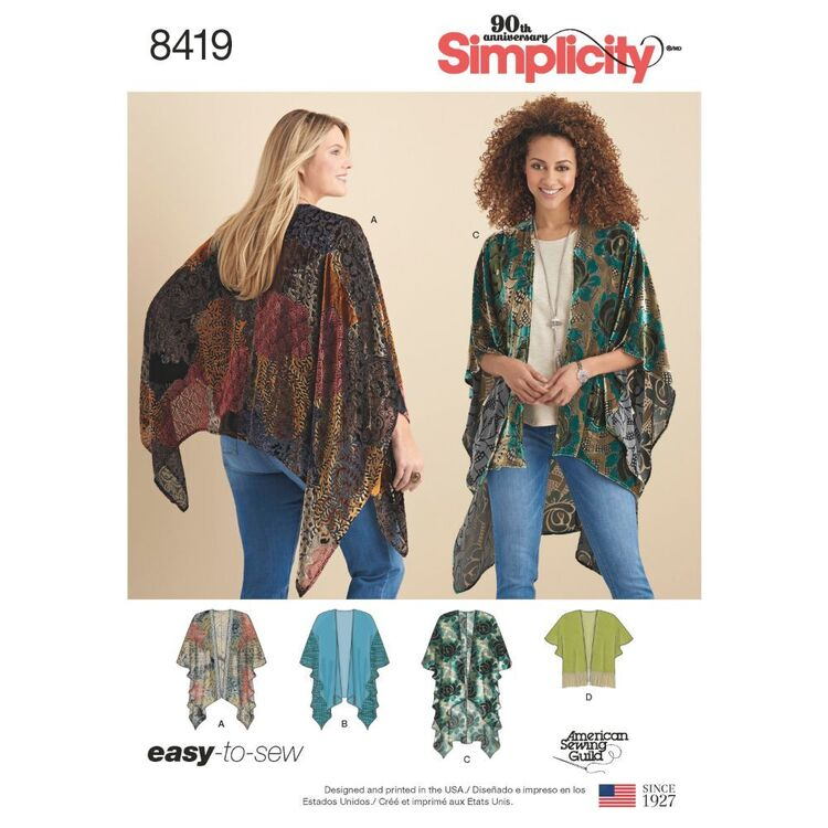 Simplicity Pattern S8419 Misses' Kimono Style Wrap with Variations
