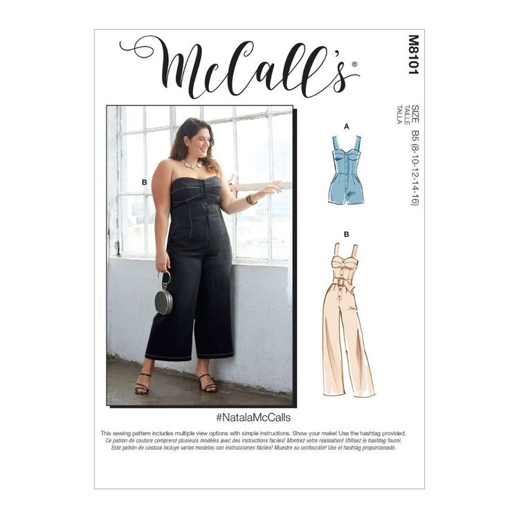 McCall's Pattern M8101 #NatalaMcCalls - Misses' & Women's Romper, Jumpsuit & Belt