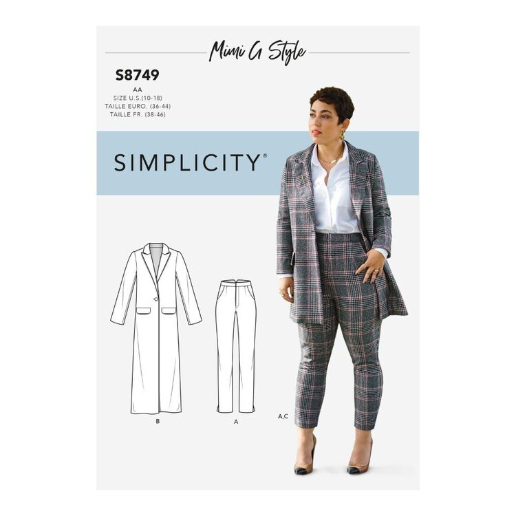 Simplicity Pattern S8749 Misses'/Women's Mimi G Style Coat and Pants