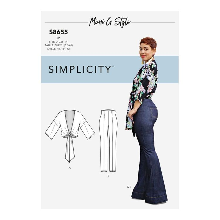 Simplicity Pattern S8655 Misses High-Waisted Pants and Tie Top by Mimi G Style