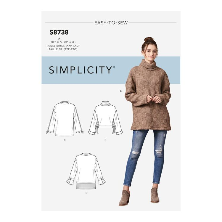 Simplicity Pattern S8738 Misses' Knit Mini Dress, Tunic or Top