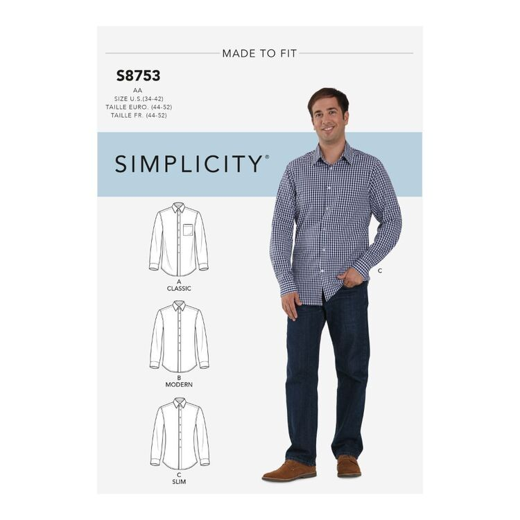 Simplicity Pattern S8753 Men's Classic, Modern and Slim-Fit Shirt
