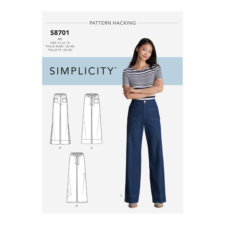 Simplicity Pattern S8701 Misses' Pants with Options for Design Hacking