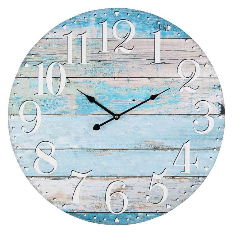 Cooper & Co Washed Coastal MDF Clock Blue 58 cm
