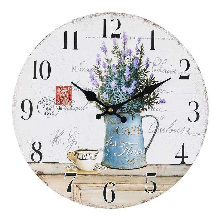 Cooper & Co Lavender MDF Clock Multicoloured 34 cm
