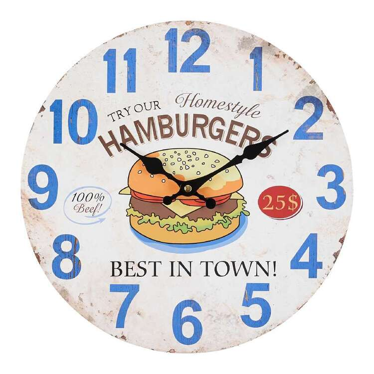 Cooper & Co Hamburger MDF Clock Multicoloured 34 cm