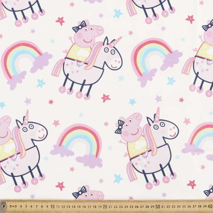 Peppa Pig Unicorn Rainbow Cotton Fabric