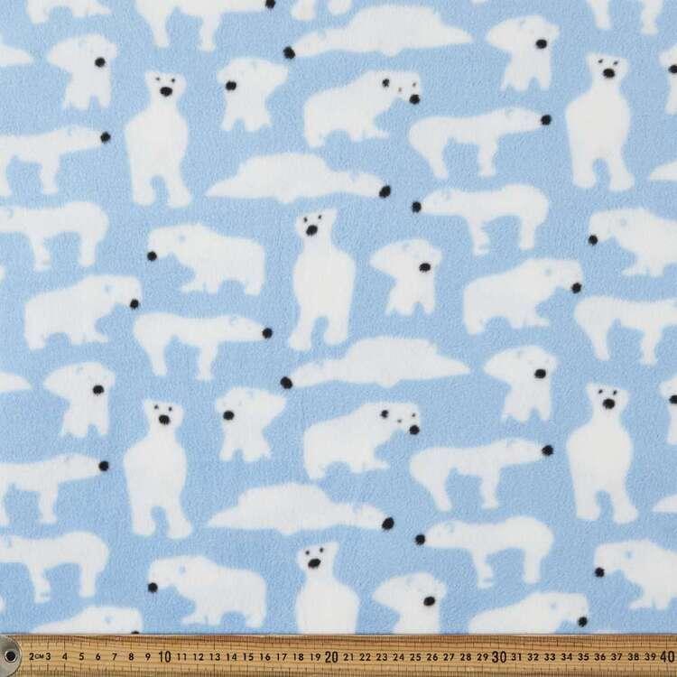 White Bear Printed 155 cm Micro Polar Fleece Fabric