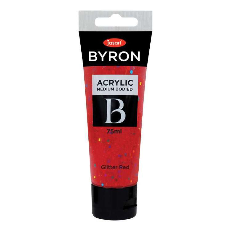 Jasart Byron 75 mL Acrylic Paint Glitter Red 75 mL