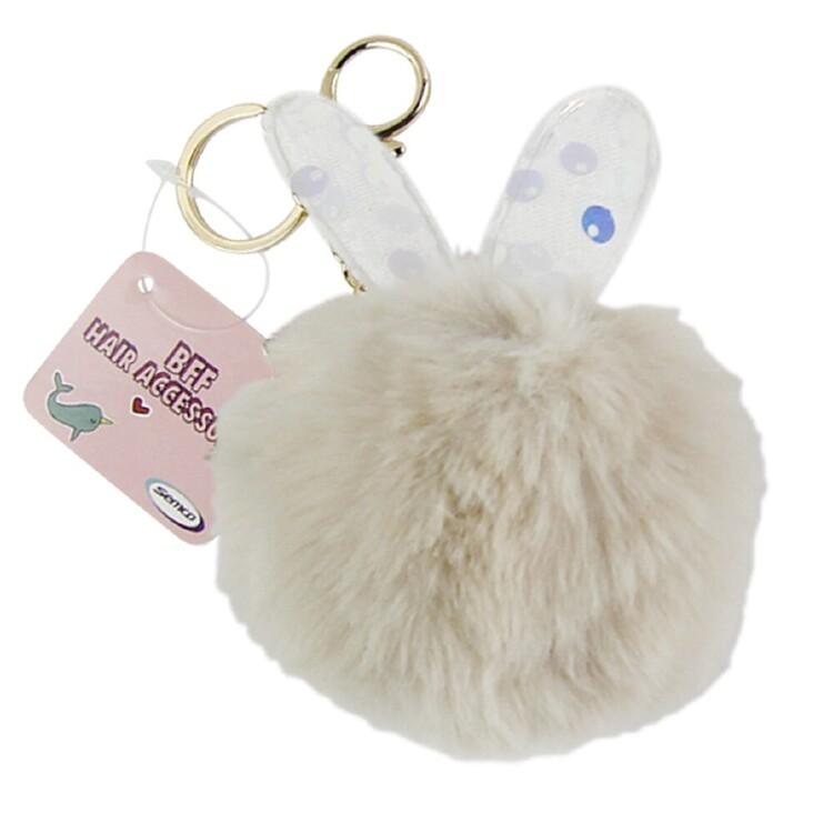 Rabbit Shape Pom Pom Keychain