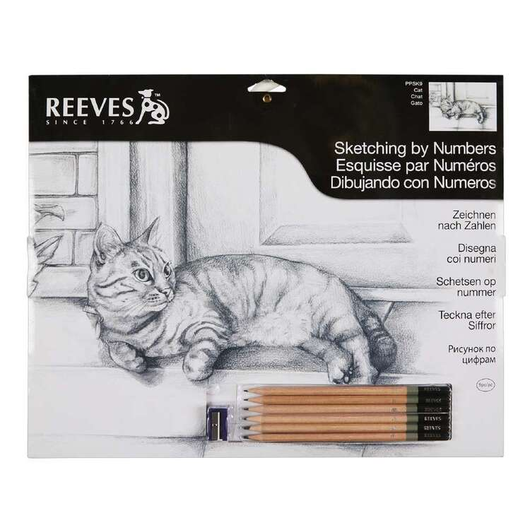 Reeves Large Sketch by Numbers Cat