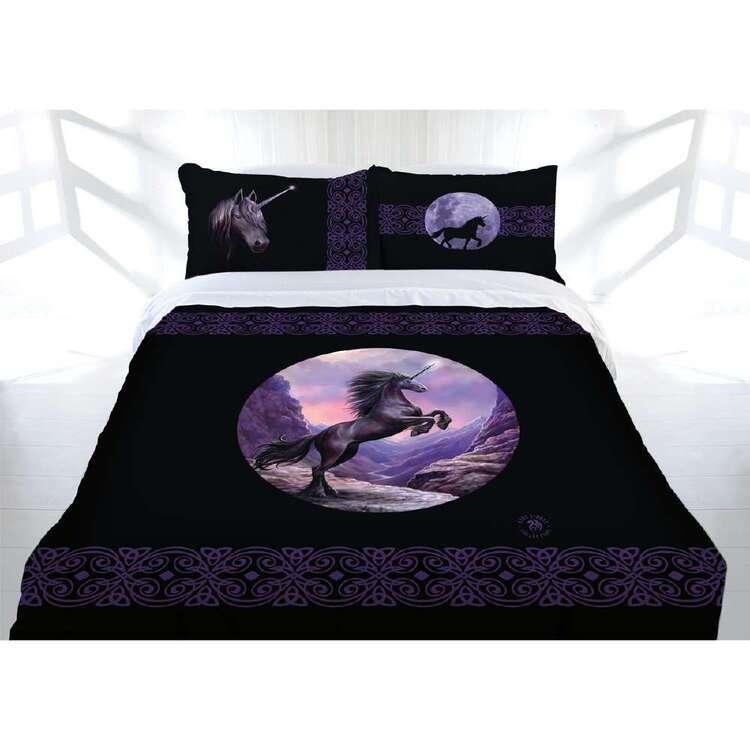 Anne Stokes Black Unicorn Quilt Cover Set