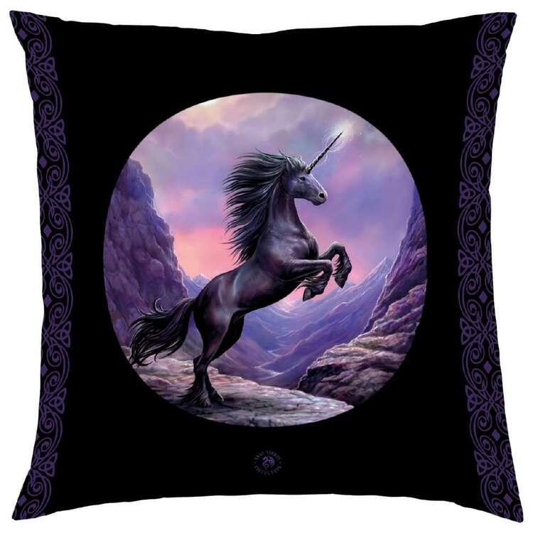 Anne Stokes Black Unicorn Cushion