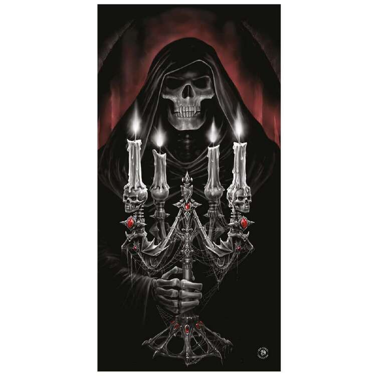 Anne Stokes Candelabra Beach Towel Black 75 x 150 cm