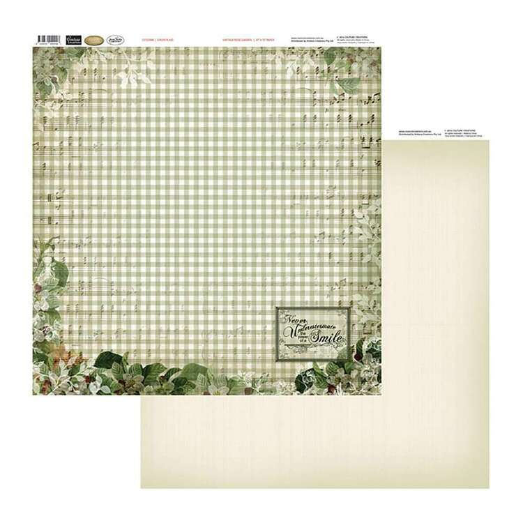 Couture Creations Vintage Rose Green Plaid Patterned Paper