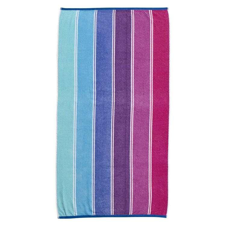 Logan & Mason Porto Wet Wild Stripe Velvet Beach Towel