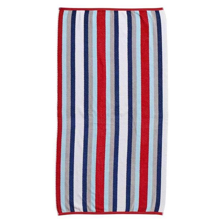 Logan & Mason Cornwall Wet Wild Stripe Velvet Beach Towel