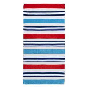 Logan & Mason Ibiza Wet Wild Stripe Velvet Beach Towel