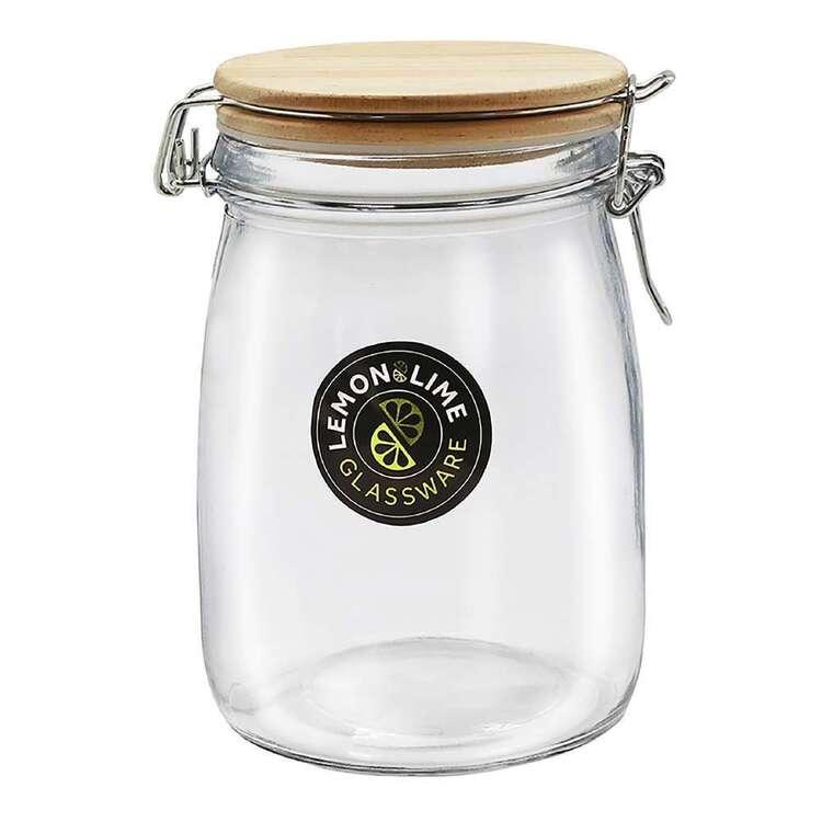 Lemon & Lime Glass Clip Jar Wooden Lid