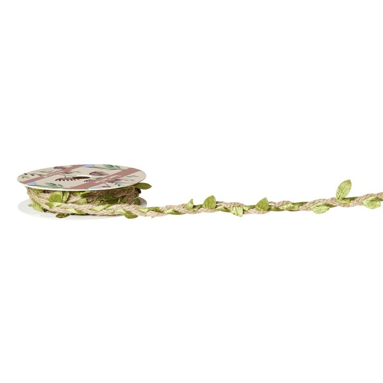 Jute Twine Leaf Trim Ribbon