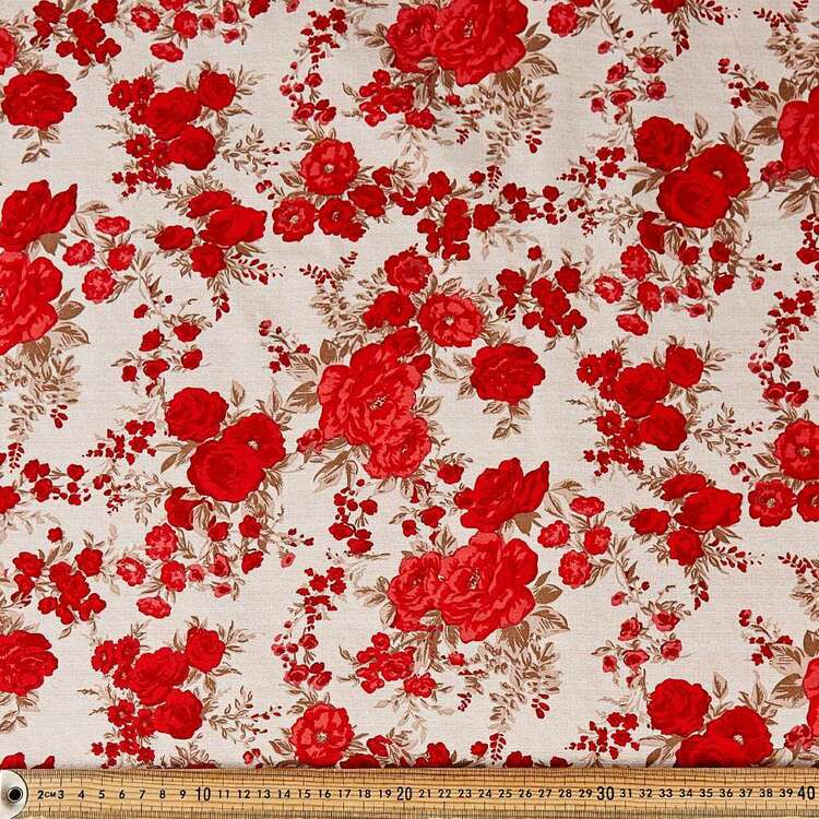 Country Farmhouse Roses Cotton Fabric