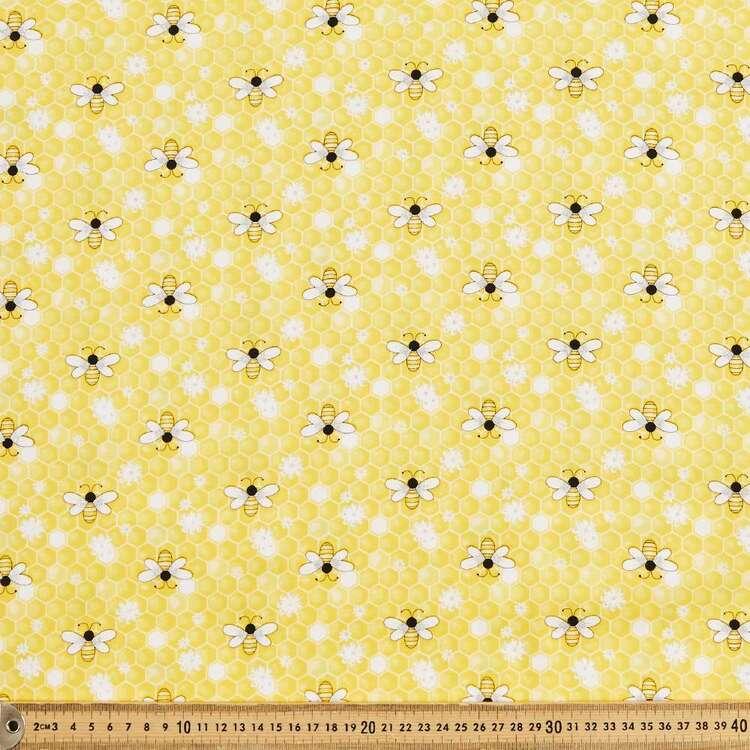 Sparkle Bee Daisy Printed 112 cm Cotton Poplin Fabric