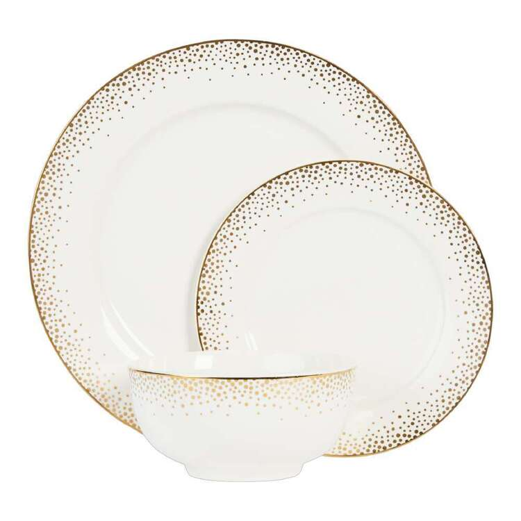 Christmas By Ladelle Sparkle Dinner Set White & Gold