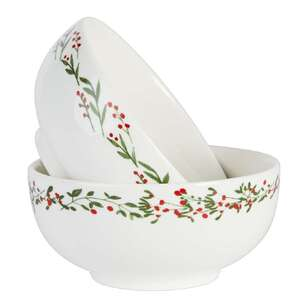 Christmas By Ladelle Holly Merry Bowl 2Pk