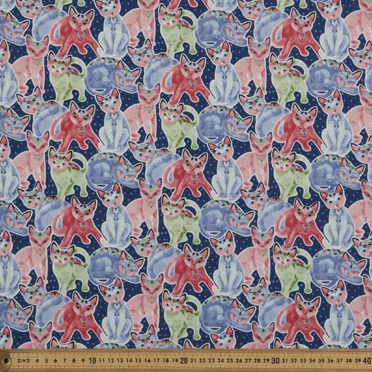 Fancy Cats Packed Cats Cotton Fabric