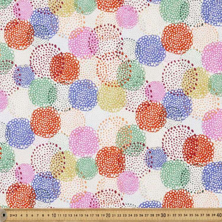 Marisol Dotted Floral Cotton Fabric Ivory 112 cm