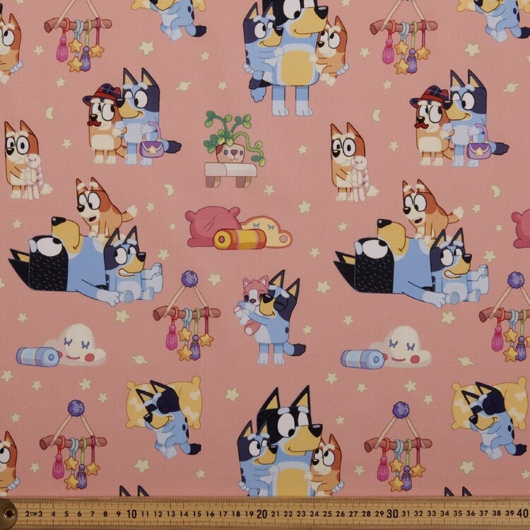 Bluey In The Bedroom Cotton Fabric Pink 112 cm