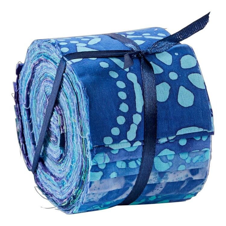 Blue & Purple Indian Batik Jelly Roll 20 Pieces