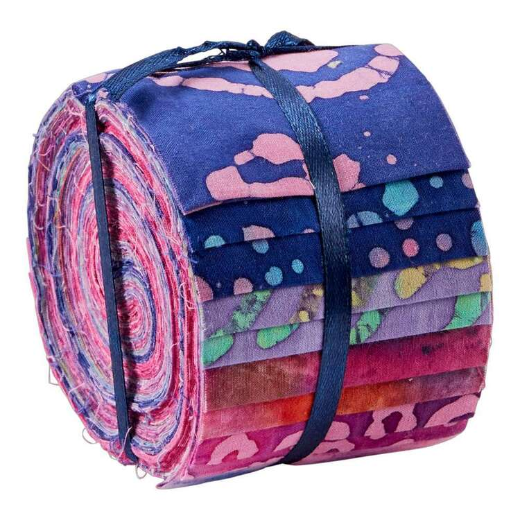 Pink & Purple Indian Batik Jelly Roll 20 Pieces