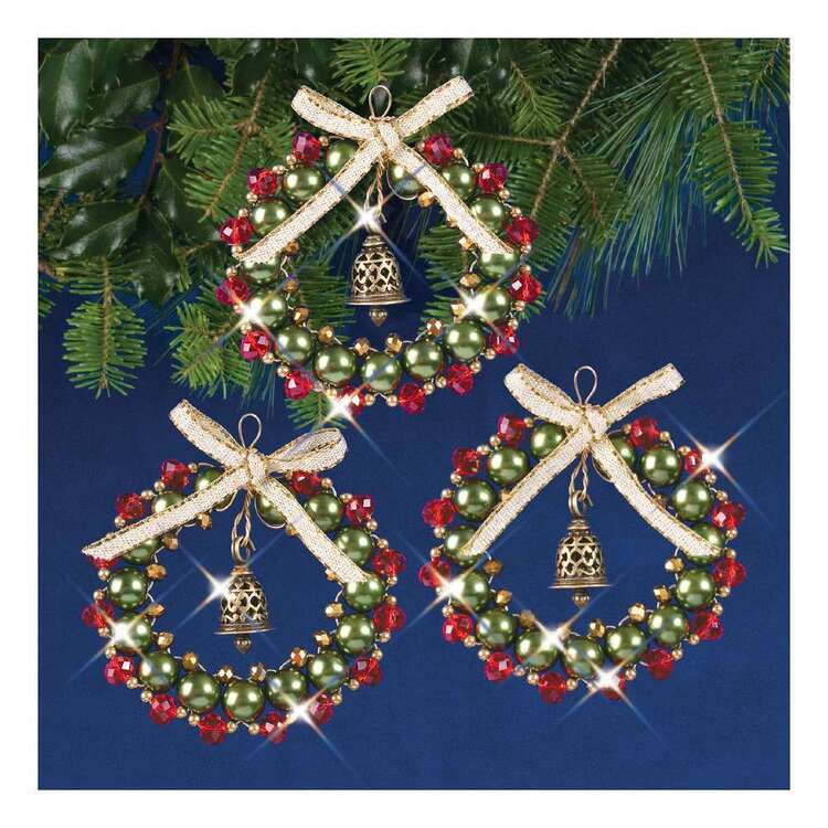 Solid Oak Christmas Bell Wreaths Ornament Kits