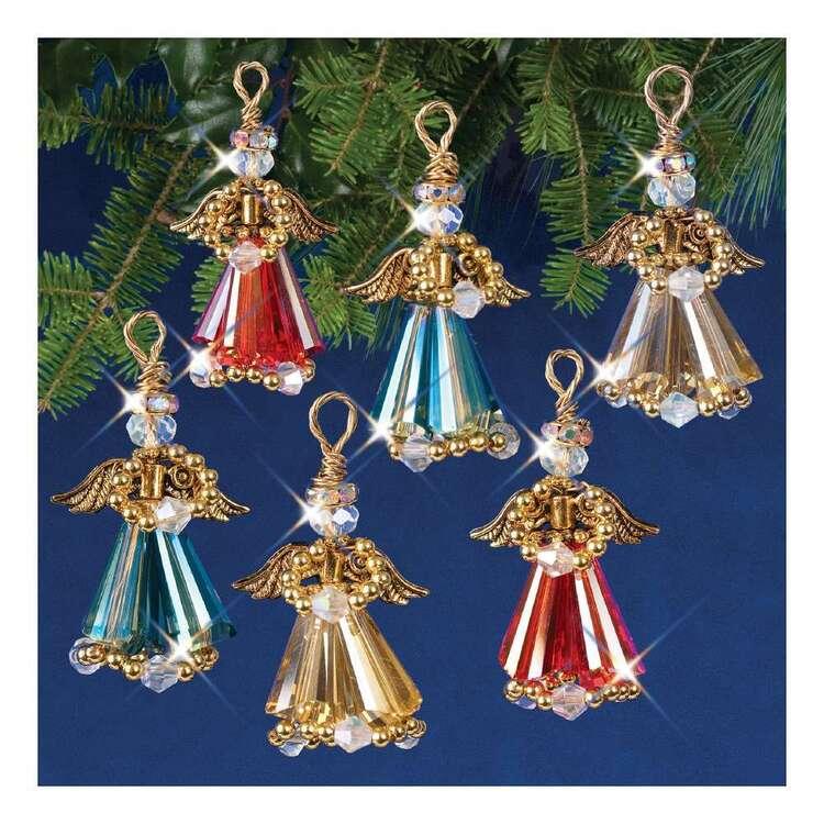 Solid Oak Christmas Gold Crystal Angels Ornament Kits