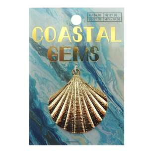 Coastal Pendant 40 mm Gold Scallop Shell
