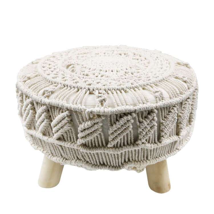 Ombre Home Weathered Coastal Macrame Foot Stool Natural 30 x 40 cm