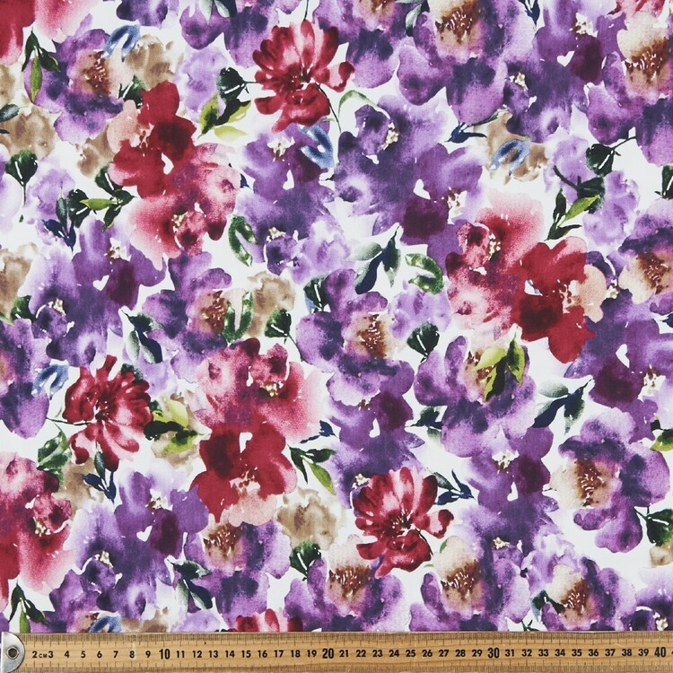 Water Colour Rose Printed 148 cm Cotton Spandex Jersey