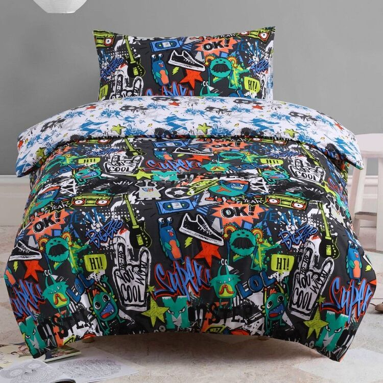 Kids House Downtown Quilt Cover Set Multicoloured