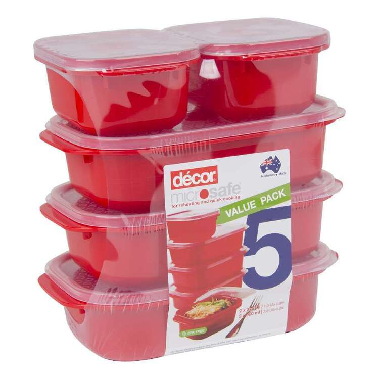 Décor Microsafe 5 Piece Oblong Container Set