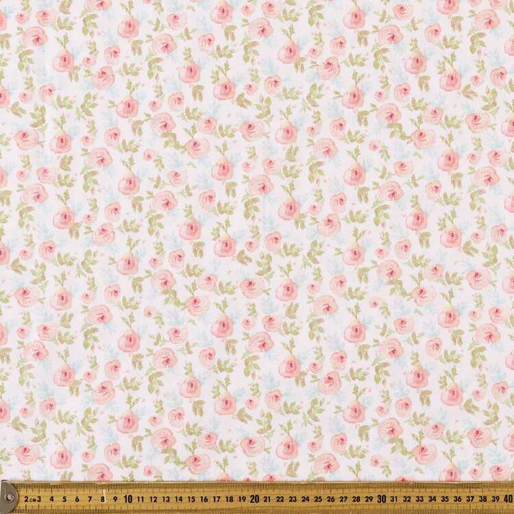 Sweetness Watercolour Roses Printed 112 cm Cotton Fabric