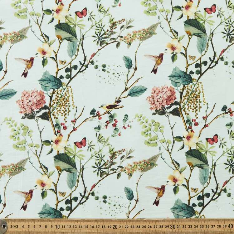 Tree & Bird Printed 145 cm Bengaline Suiting Fabric