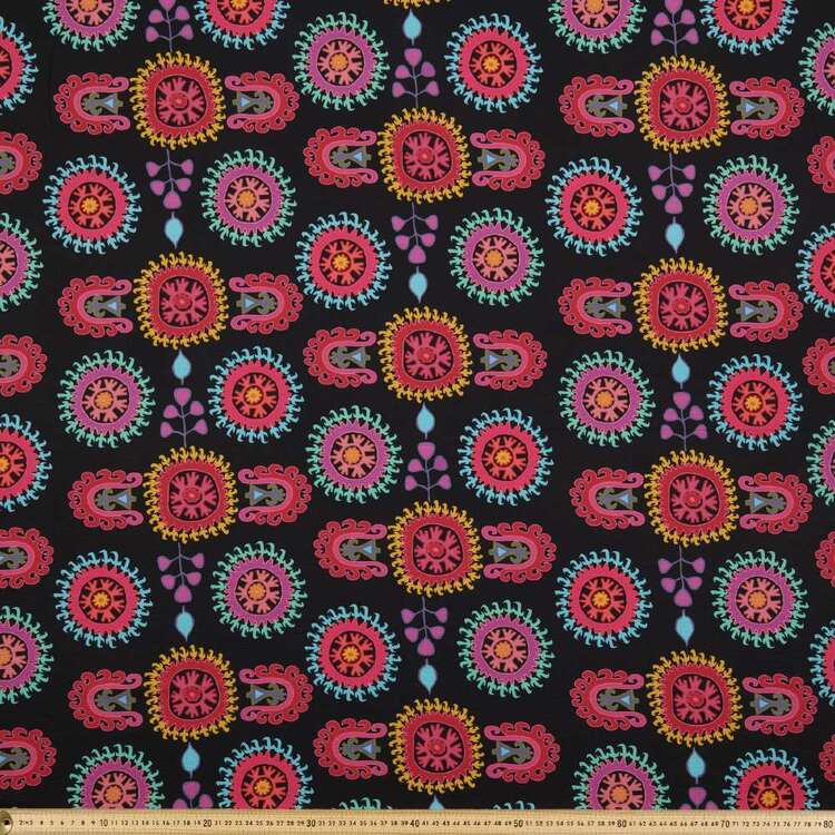 Damask #1 Printed 138 cm Cumbria Bubble Crepe Fabric