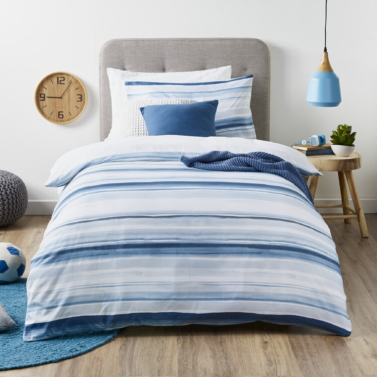 Ombre Blu Surf Stripe Quilt Cover Set